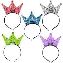 LUOEM 5 piezas de corona diadema intermitente banda de pelo luminosa aro de pelo para la