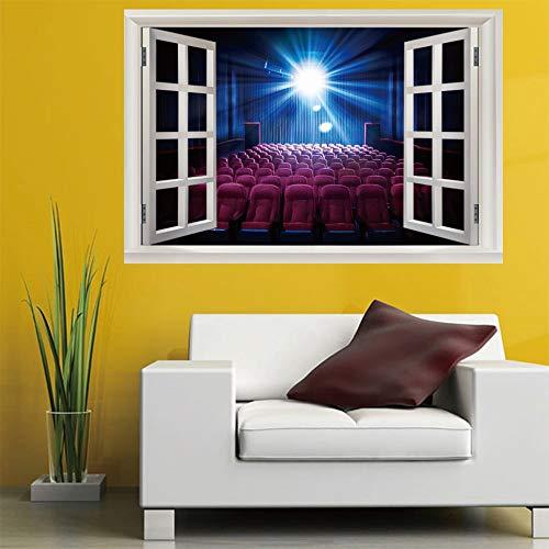 3D Fenster Wandtattoo Wandaufkleber kino (60X90 Cm) Schlafzimmer Zimmer Landschaft kinderzimmer Wanddekoration Dekoration X 60 Kino