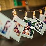 Amazlab T2CT LED Foto Clip String Lights, 16 Foto Clips, 4,5 Meter / 15 Füße, warmes Weiß, Akku mit 4 Stunden Timer, Perfekt für hängende Bilder, Notizen, Artwork