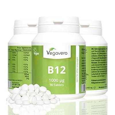 Vitamin B12 Methylcobalamin | Highly Dosed 1000mcg B12 per Tablet | Perfect for Vegans & Vegetarians | 100% VEGAN by Vegavero
