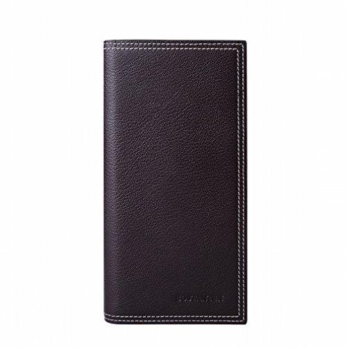 A wallet la Borsa Del Telefono Mobile Della Chiusura Lampo Dei Raccoglitori Degli Uomini Classici Degli Uomini Classici Di Modo,Nero Marrone