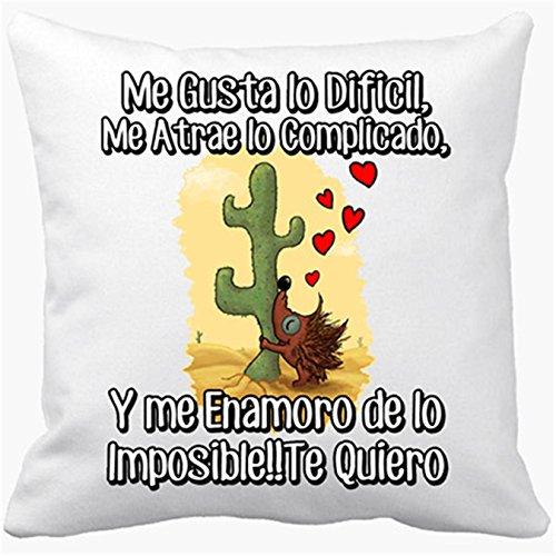 Cojín con relleno de amor frase San Valentín me enamoro de lo imposible - Blanco, 35 x 35 cm