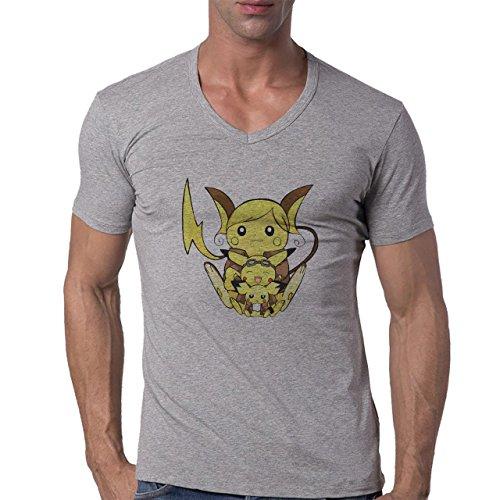 Pokemon Raichu Electric Pikachu Three Herren V-Neck T-Shirt Grau