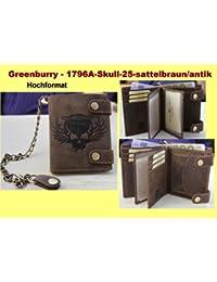 Greenburry by Lefox 1796A - Cartera monedero de piel con cadena, diseño con calavera