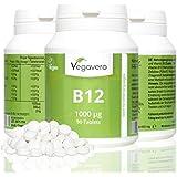 Vitamina B12 1000mcg de Vegavero | Comprimidos sublingual con Vitamina B6 y Vitamina B9 (ácido fólico) dosis alta | Vegano | Ganador del Eco-test 2015 | Metilcolbalamina | 90 o 365 Comprimidos