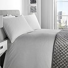 Just Contempo–Hotel de lujo funda de edredón de cuadros, color blanco, único