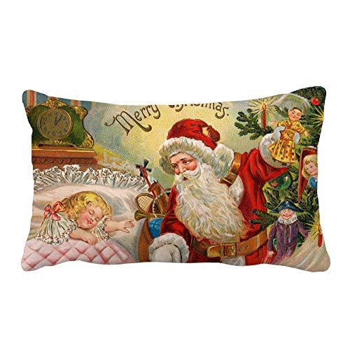 IZHH Merry Christmas guanciale, Christmas Printing Dyeing Gettare Cuscino Divano Home Decor Federa, Flax, A, Taglia Unica