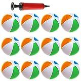 12er Set aufblasbarer Wasserball, Badeball & Schwimmball - 25cm großer Durchmesser mit Luft-Pumpe - Strandball, bunt & in Regenbogen-Farben - phthalatfrei & Spielzeug-Ball für Kinder am Strand