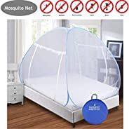 BACKBONE Mosquito Net - Foldable, King Size Double Bed with Saviours - (Blue)