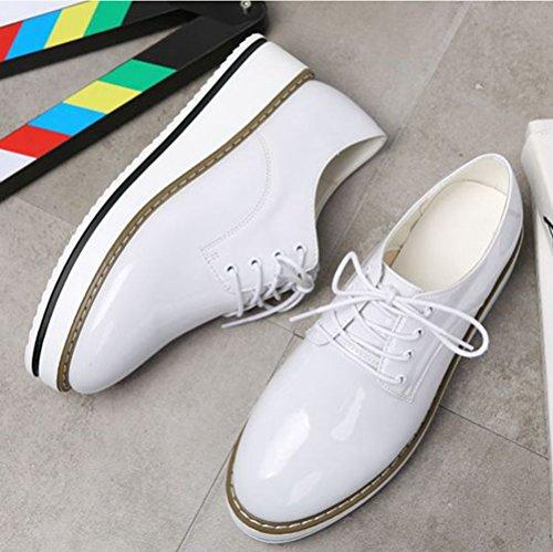 JRenok Mocassins Femme Loisir Chaussures de Ville Cuir Sneakers Casuel Confort Fond Épais Résistant à LUsure Antidérapante 35-40 Blanc