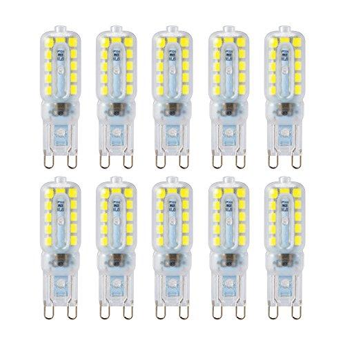 Kreema Ampoule LED Base Bi-broche G9 2835 SMD 10 PCS, Ampoule de Remplacement D'halog¨¨ne 8W, Lampe D'¨¦conomie D'¨¦nergie ¨¤ Intensit¨¦ R¨¦glable CA220V-240V Blanc Froid