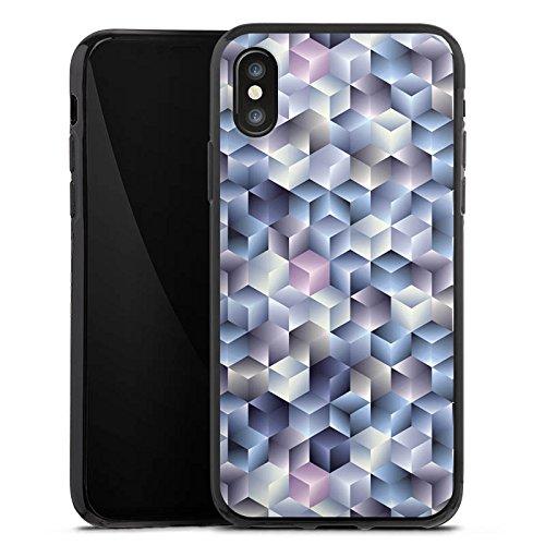 Apple iPhone X Silikon Hülle Case Schutzhülle 3D Illusion Pastell Silikon Case schwarz
