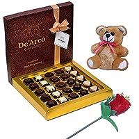 De'Arco Chocolatier Valentines Day Chocolate Gift, Premium Luxury Chocolates, 25pcs + Free Teddy and Rose