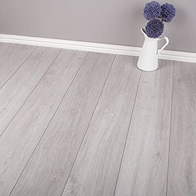 8mm - AC4 V-Groove - Laminate Flooring - Dusk Grey Oak - 2.22m2 - cheap UK light store.