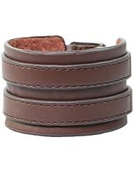 Bracelet Homme Manchette en Cuir Véritable Marron Force Double 42mm de Largeur.