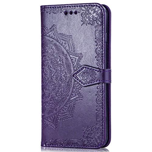 Mlorras Hülle für Samsung Galaxy S10 6.1 Zoll, Geprägter Vorne schnallen Leder Handyhülle Klappbares Brieftasche Schutzhülle Wallet Case mit Integrierten Kartensteckplätzen Lila -