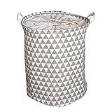 Yiuswoy Wäschekorb Wäschebehälter aus Baumwolle Wäschetonne Wäschebox Klapp Kinder Aufbewahrung Spielzeug Wasserdicht Aufbewahrungstasche - Graue Dreieck