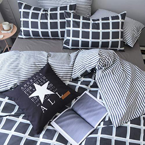 XMDNYE Reine Baumwolle, Vier Stück, 1,8 M Baumwollstreifen, Dreiteilig, Einzeln, 1,5 Blatt, 4-Teiliges Set, Kühles Gitter, 2,0 M Großes Bett (Königin Weiß Bett Blatt)