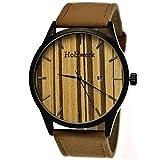 Handgefertigte Holzwerk Germany® Designer Herren-Uhr Öko Natur Holz-Uhr Armband-Uhr Analog Klassisch Quarz-Uhr Braun Schwarz mit Datumsanzeige Holz Ziffernblatt