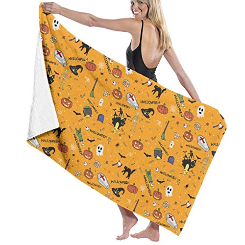 ASKSWF Unisex Happy Halloween Doodles Hand Drawn Over-Sized Cotton Bath Beach Travel Towels 31x51 Inch