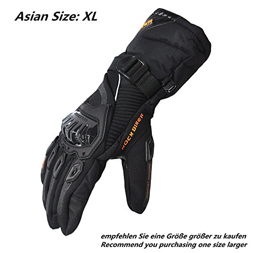 Motorrad Handschuhe Winter Warm Handschuhe Touch Screen Wasserdicht Winddicht Sporthandschuhe ( XL,Schwarz)