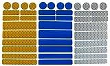UvV Sticker - Reflektoren 42 Stück Light Reflex Reflektor für Buggy, Kinderwagen, Gehstock, Bikes, Helm (Silber-Blau-Gelb)
