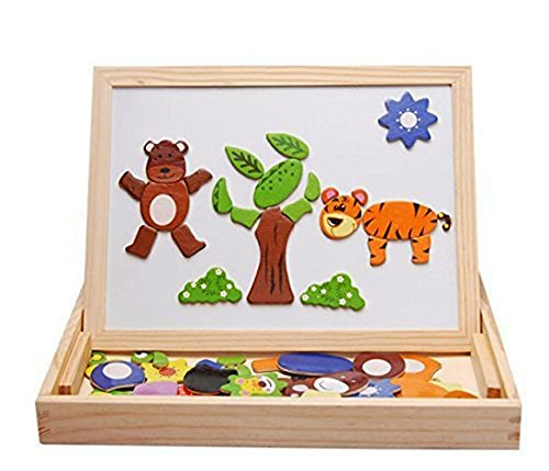 Magnetic Board Wooden Educational Animal Puzzle Toys Games Dry Erase Board Chalkboard Easel for Kids Imagination