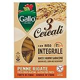 Riso Gallo Penne Rigate 3 Cereali con Riso Integrale, Mais e Grano Saraceno - Confezione da 250 gr, Senza glutine