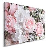 Feeby ROSEN Bild auf Leinwand Größe: 40x60 cm, 1 Teilig Leinwanbild Wandbild Kunstdrucke Wanddeko BLUMEN WEIß PINK