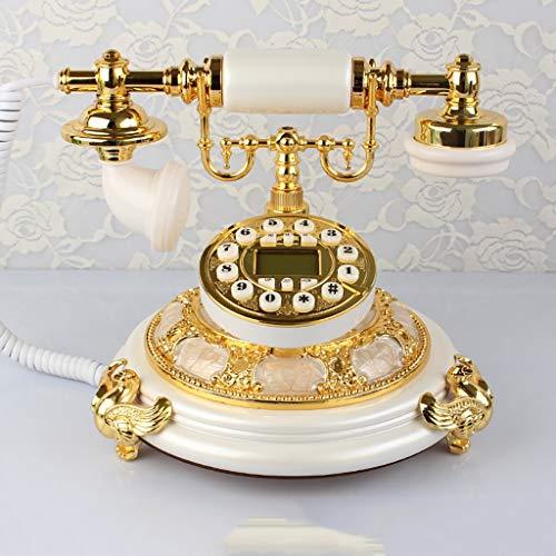 ZYFA Teléfono Fijo Teléfono Antiguo, Estilo Pastoral Europeo, teléfono Fijo de Metal de Jade, teléfono residencial (Color : A)