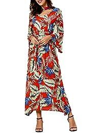 f3e9015fbf03 Frauen Neckholder Blumen Sommer Casual Sommerkleid Maxi Kleider beiläufige Lange  Kleider