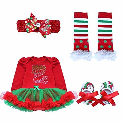 YiZYiF Neugeborenes Baby Mädchen Bekleidung Set Langarm Bodysuit Strampler mit Tütü Kleid Beinwärmer Schuhe Stirnband für Weihnachten Geschenk #6 Weihnachtsstrumpf 0-3 Monate