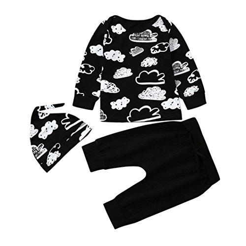 FNKDOR Baby Neugeborenes Jungen Mädchen Wolkendruck Outfits Kleidung Set, T-Shirt + Hosen+Hut(06-12 Monate,Schwarz) (Baby-wolle-kleidung)