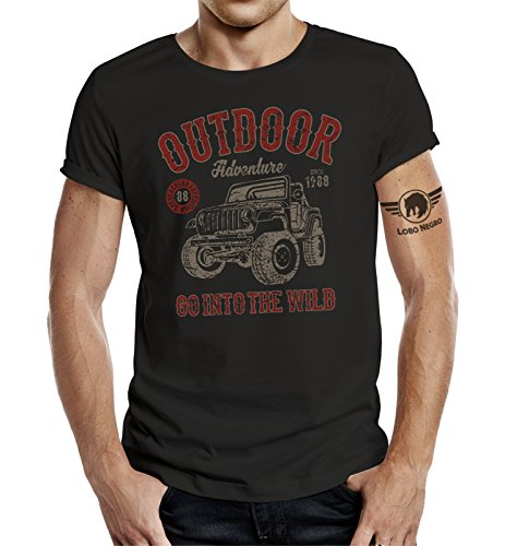 LOBO NEGRO Original Design T-Shirt für Den Outdoor Jeep Fan: Into The Wild-XL