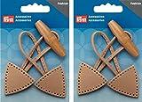 PRYM Dufflecoat Knebelverschluss Button–Beige Leder–Twin Pack
