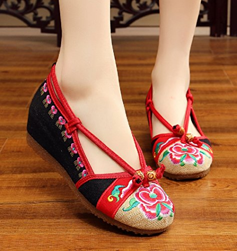 Tianrui Crown - Chaussures Plateforme Femme Noires