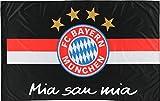 Flagge FC Bayern München Schwarz Mia San Mia - 100 x 150 cm, + gratis Aufkleber, Flaggenfritze®