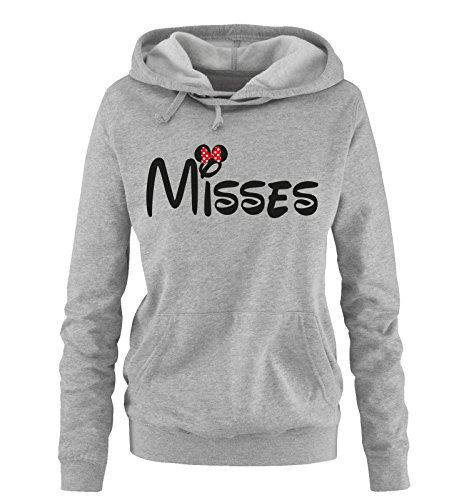 (Comedy Shirts - Misses - Minnie - Damen Hoodie - Grau/Schwarz-Rot Gr. XL)