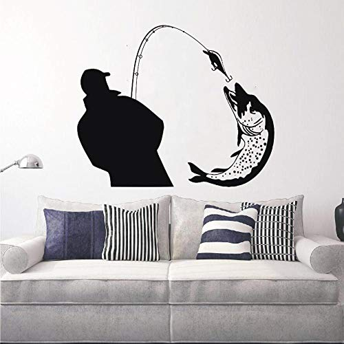 jiushizq Fischer fangen einen riesigen Fisch Silhouette wandtattoos wandbilder Home Wohnzimmer Kunst Mode dekor Wand Poster fischen Aufkleber rot 57x66 cm