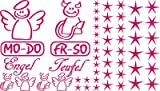 Autoaufkleber Sticker Aufkleber Set für Auto Schriftzug Engel Mo-Do Fr-So Teufe (041 pink)