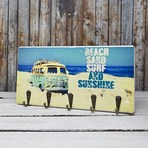 elbPLANKE mit Haken - Beach, Sand, Surf and Sunshine   12x24 cm   Schlüsselbrett von Fotoart-Hamburg   mit 5 Antike Haken aus Holz (Kiefer/Fichte) - 100% Handmade