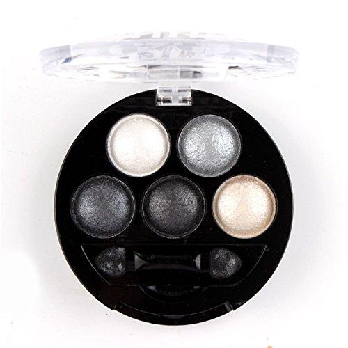HugeStore 5 Farben Augenschminke Lidschatten Palette Glitter Eye Version Shimmer Metallic Eyeshadow (Up Silber Make Metallic Palette)