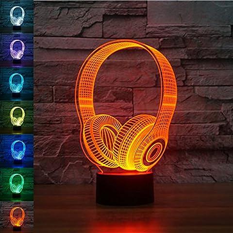 Jawell lampe de mirage 3D, lampe de nuit, écouteur sans fil, 7 couleurs changeantes, table USB, joli cadeau, jouet décoratif