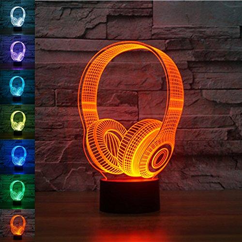 jawell 3d ilusión lámpara luz nocturna inalámbrico auricular 7colores cambiantes Touch USB...