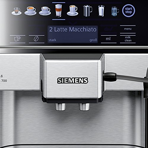 Siemens TE617503DE Kaffeevollautomat EQ.6 700 Direktanwahl durch Sensorfelder, oneTouch DoupleCup, elektronischer Füllstandssensor, edelstahl / mittelgrau -