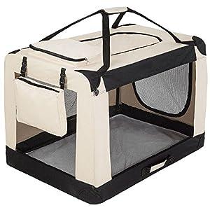 TecTake Cage sac box caisse de transport pour chien chat mobile XXXL pliable beige 102x69x70cm