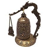 Reproducción de un Tradicional chino templo bronce dragón gong campana con martillo 5' (13cm)