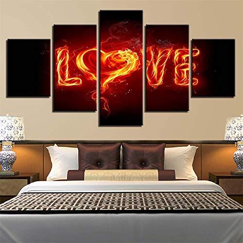 Whian Öl Gemälde Auf Leinwand Für Home Dekoration 100% Handgemalt Modernes Leinwand Wand Art Decor DIY 5 Pcs/Set Flamme Liebesbrief Liebe 55x20 45x20 35x20(cm) Rahmen