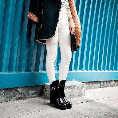 JOE Chaussures femme bottes de mode d'hiver / tour de bottes à embout parti & soirée / robe de Chunky talon boucle / fermeture à glissière noir / rouge Black