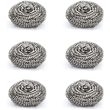 Cello Kleeno Stainless Steel Small Scrub Pad (Silver, Set of 6)